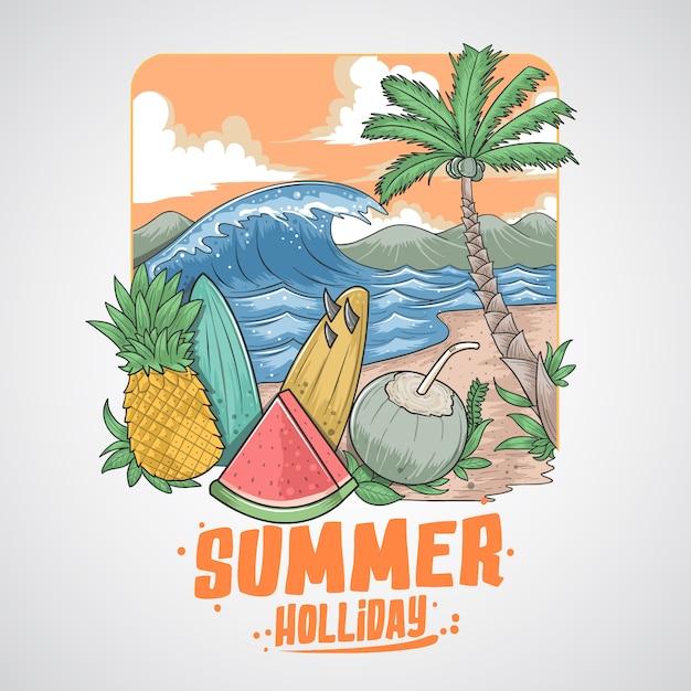 Sommerfrucht-kokos-baum und strand Premium Vektoren