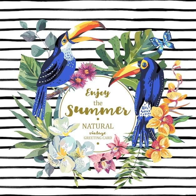 Sommergrußkarte mit paaren tukan und exotischen blumen Premium Vektoren