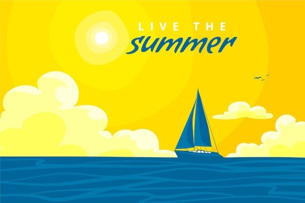 Sommerhintergrund mit boot und sonne Kostenlosen Vektoren