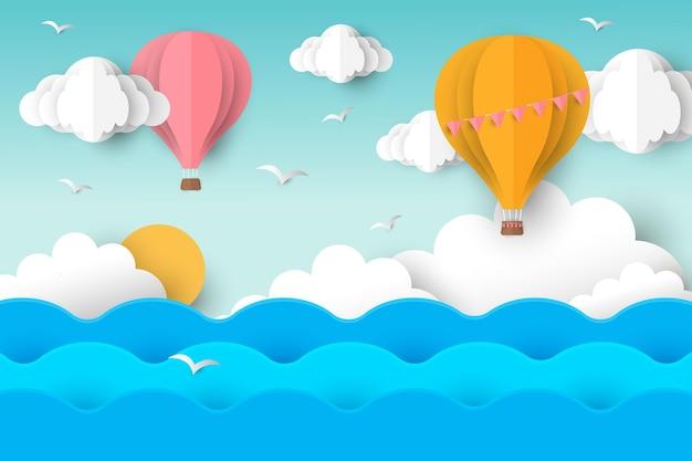 Sommerhintergrund mit heißluftballons Kostenlosen Vektoren