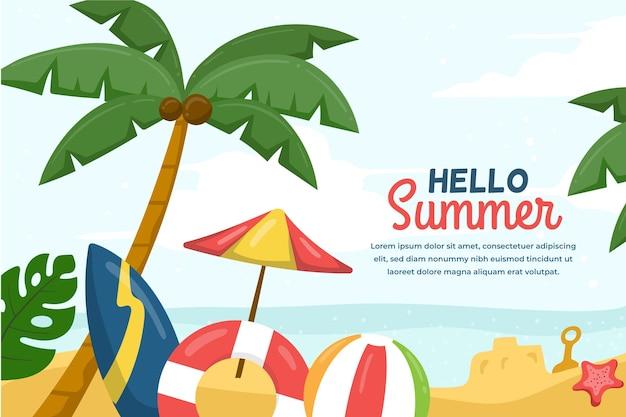 Sommerhintergrund mit palmen und strand Kostenlosen Vektoren