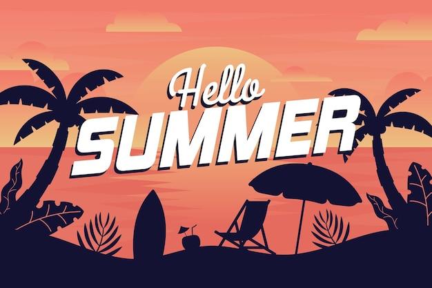 Sommerhintergrund mit strand Kostenlosen Vektoren