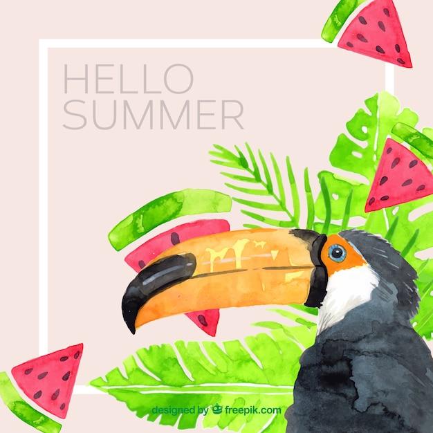 Sommerhintergrund mit tukan und anlagen in der aquarellart Kostenlosen Vektoren