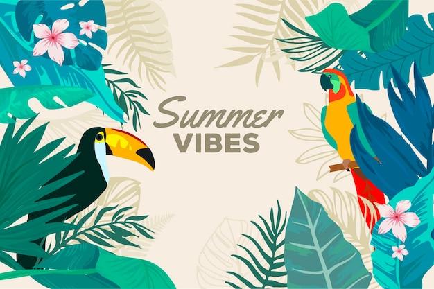 Sommerhintergrund mit tukan und vogel Kostenlosen Vektoren