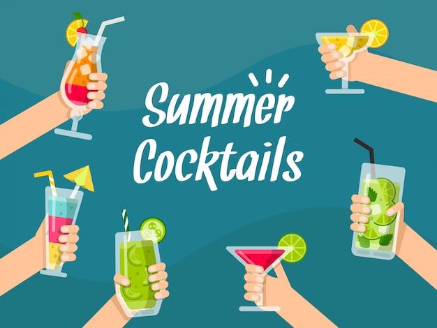 Sommerhintergrund mit verschiedenem gesundem saft und cocktails in den händen Premium Vektoren