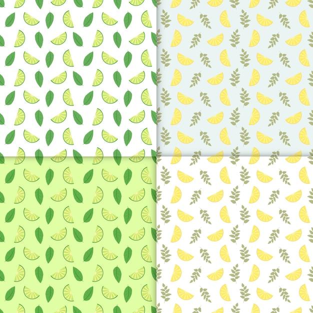 Sommerhintergrund. satz von vektor einfache bunte nahtlose muster - verschiedene früchte. limette und zitrone nahtlose muster mit saftigen limetten und blätter. cooler erfrischender sommer-mojito-hintergrund. Premium Vektoren