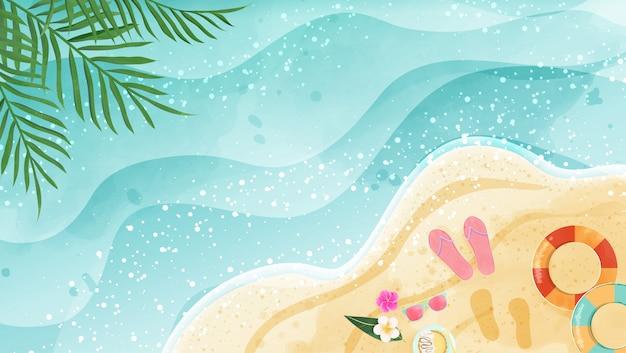 Sommerhintergrund stellen aquarellstrand dar. draufsicht und hat kopierraum. Premium Vektoren