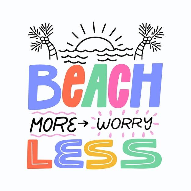 Sommerhintergrundbeschriftung mit meer Kostenlosen Vektoren