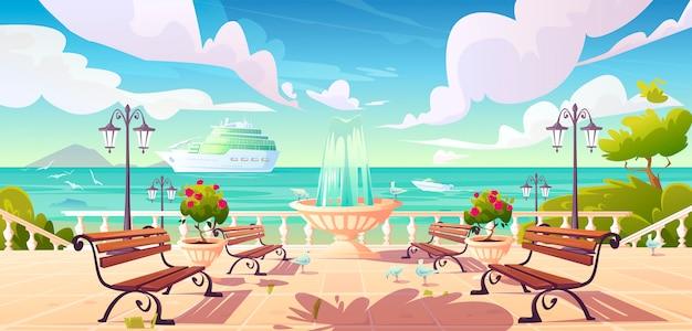 Sommerkai am meer mit kreuzfahrtschiff im ozean Kostenlosen Vektoren