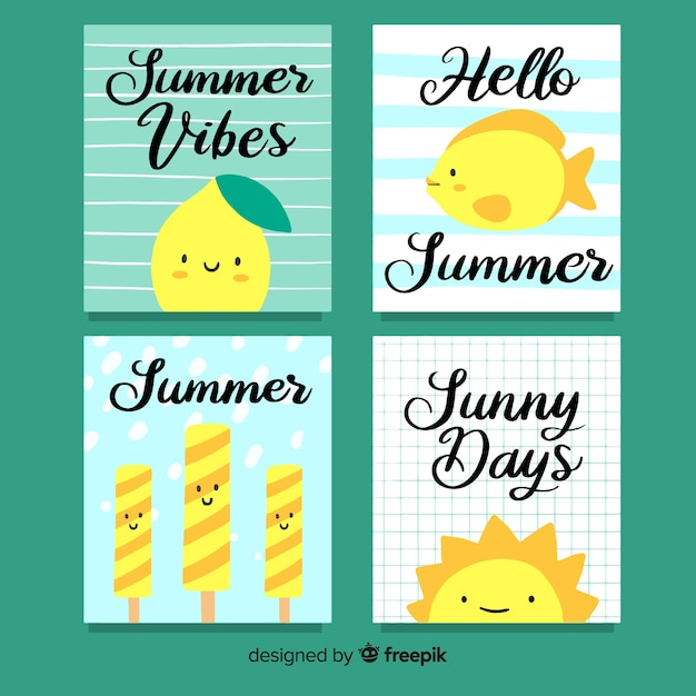 Sommerkarten-sammlung Kostenlosen Vektoren