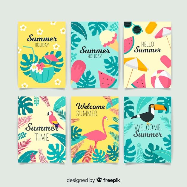 Sommerkartensammlung Kostenlosen Vektoren