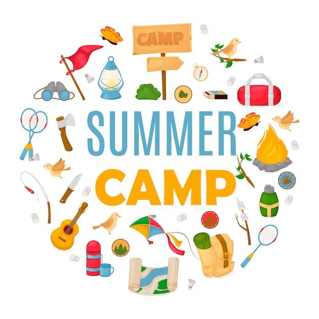 Sommerkinderlager banner Premium Vektoren