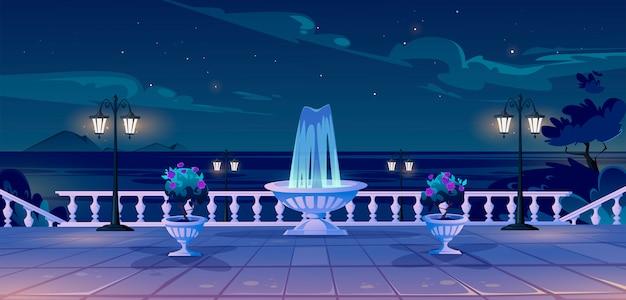 Sommerküste am nachtkai mit meerblick Kostenlosen Vektoren