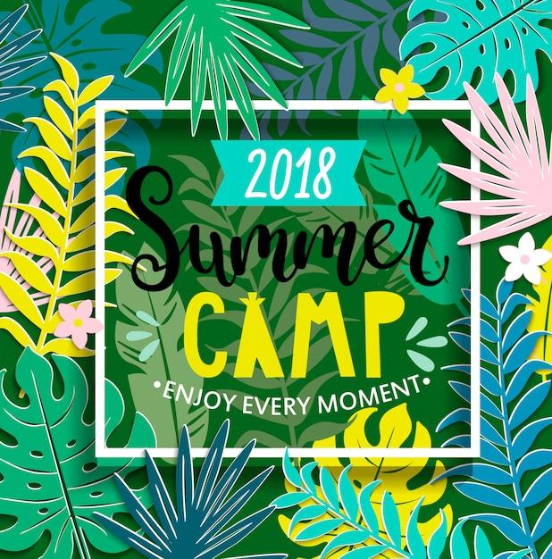 Sommerlager 2018 mit handgezeichneter beschriftung Premium Vektoren