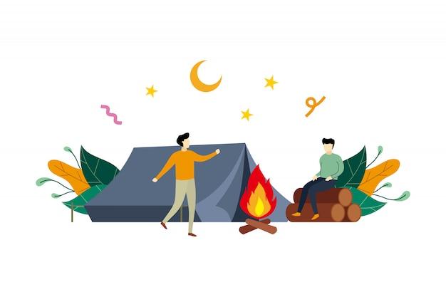 Sommerlager, flache illustration der kampierenden tätigkeit im freien mit kleinen leuten Premium Vektoren