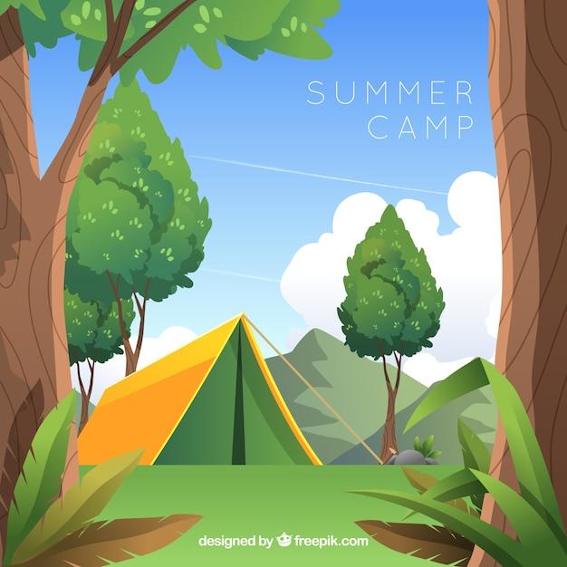 Sommerlagerhintergrund im flachen design Kostenlosen Vektoren