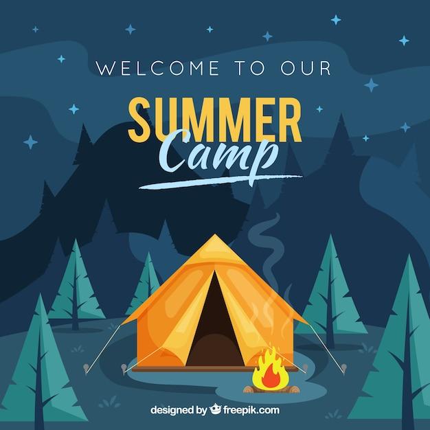 Sommerlagerhintergrund mit nachtlandschaft Kostenlosen Vektoren