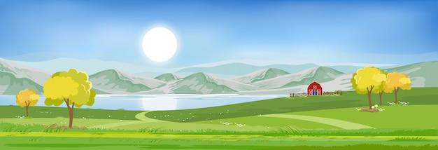 Sommerlandschaft am see mit blauem himmel und wolken, Premium Vektoren