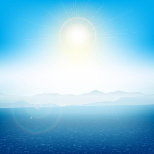 Sommerlandschaft mit inseln in der ferne mit dem ozean Kostenlosen Vektoren