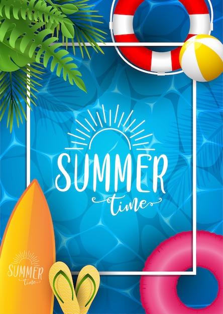 Sommermeerplakat. illustration mit tiefer unterwasserozeanszene. Premium Vektoren