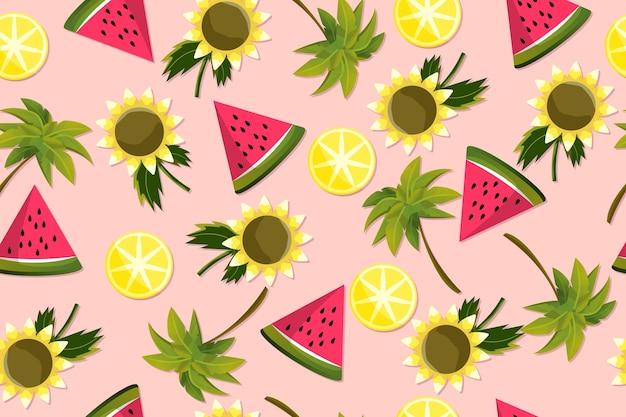 Sommermuster mit wassermelonenscheiben Premium Vektoren