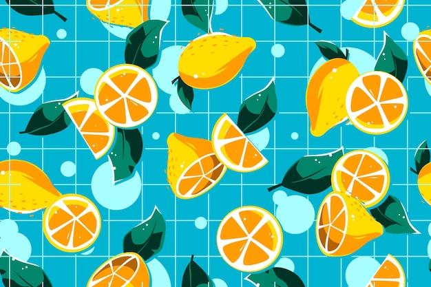 Sommermusterdesign mit zitrusfrüchten Premium Vektoren