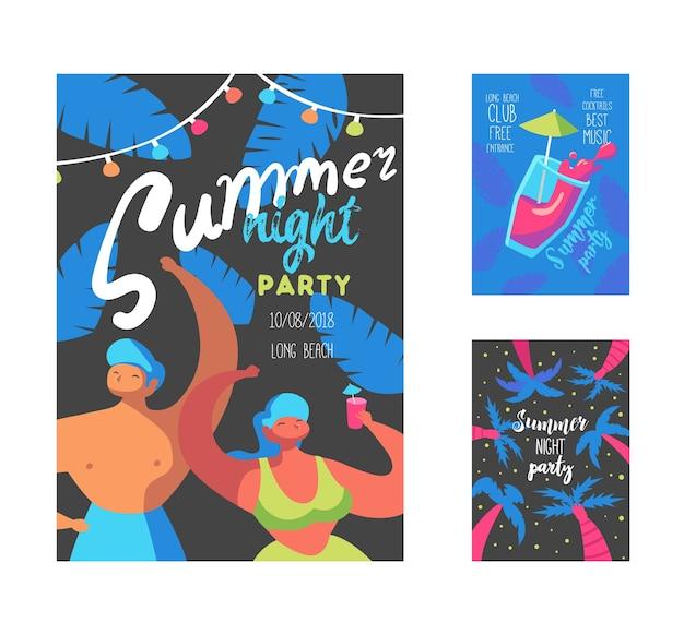 Sommernacht-party-plakat mit flachen personen-zeichen und palmen Premium Vektoren