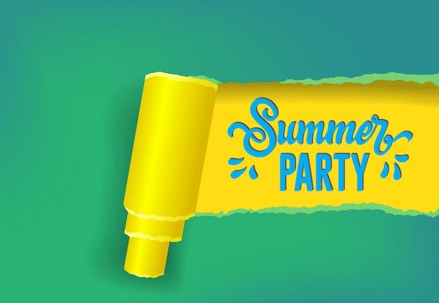 Sommerparty-saisonfahne in den gelben, grünen und blauen farben. Kostenlosen Vektoren