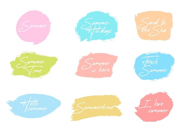 Sommerpinselabzeichen-sammlung Kostenlosen Vektoren