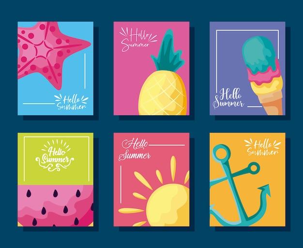 Sommerplakat mit ananas und ikonen Premium Vektoren