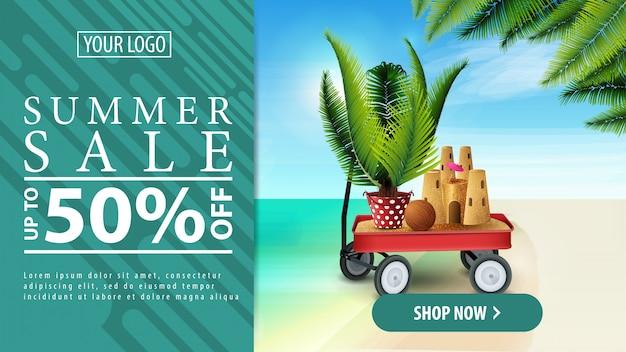 Sommerrabatt, horizontale rabattfahne Premium Vektoren
