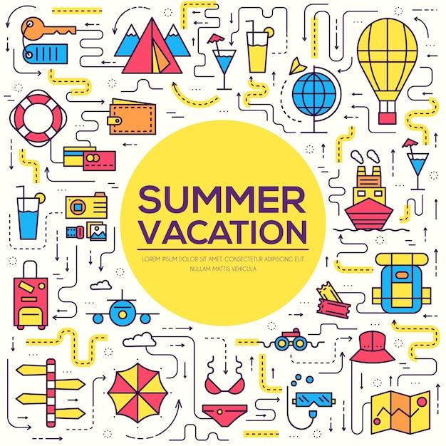 Sommerreise reise infografik icons artikel. urlaub ruhen mit irgendwelchen elementen gesetzt. Premium Vektoren