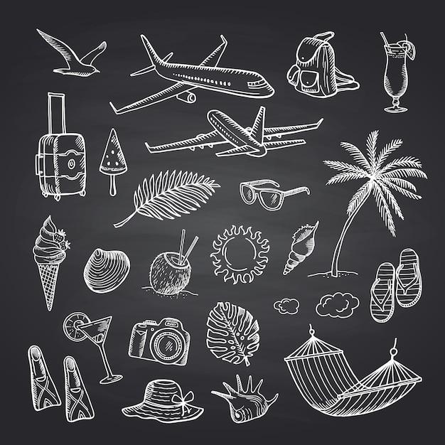 Sommerreiseelemente auf schwarzem tafelsatz Premium Vektoren