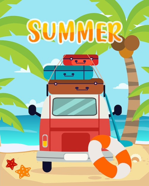 Sommerreisen Premium Vektoren