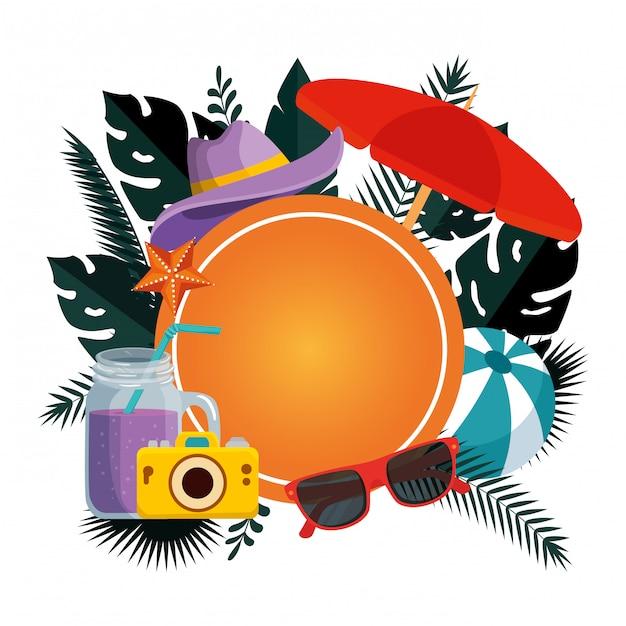 Sommerrundschreiben mit blättern und regenschirm Premium Vektoren