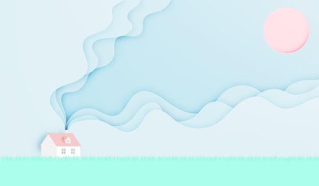 Sommersaison des hauses im frühjahr in der papierkunstart mit pastellfarbschema-vektor illustrat Premium Vektoren