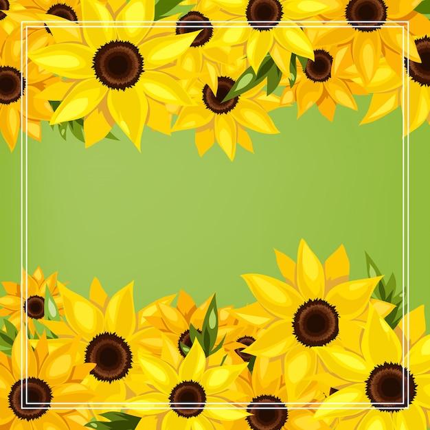 Sommersaisonhintergrund mit sonnenblumenblumen. Premium Vektoren