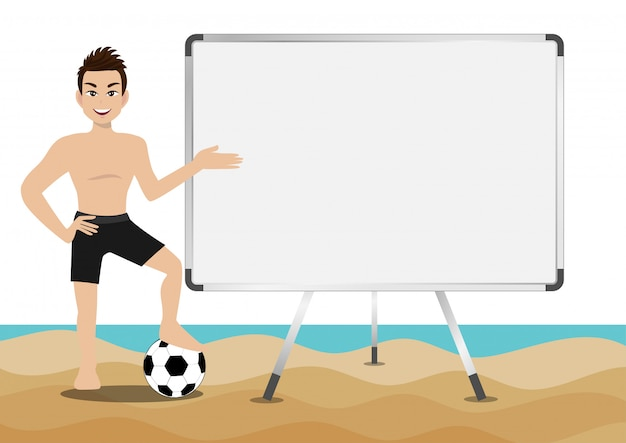 Sommersaisonurlaub. zeichentrickfigur am strand; gut aussehender mann mit schwimmenhose und tätigkeiten entwerfen vektor Premium Vektoren