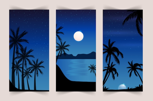 Sommersatz des mobilen hintergrunds. bunter sonnenuntergang auf dem meer mit palmen und möwen. geschichten vorlage. Premium Vektoren