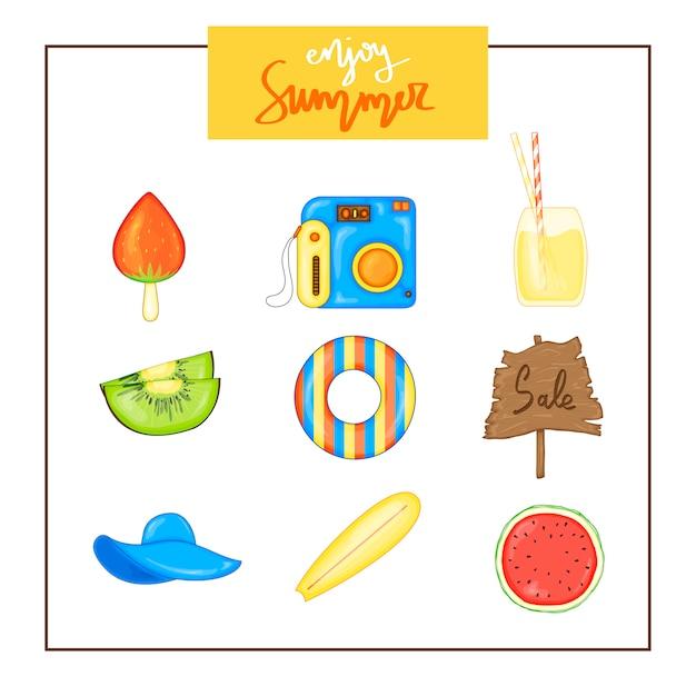 Sommersatz einzelteile auf einem weißen hintergrund. reisen, strand und leckeres essen. Premium Vektoren