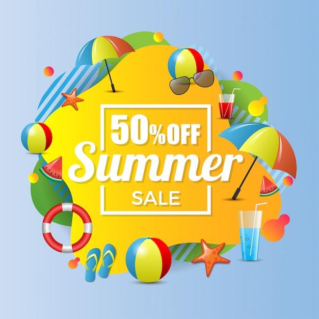 Sommerschlussverkauf 50% rabatt auf banner-illustration Premium Vektoren
