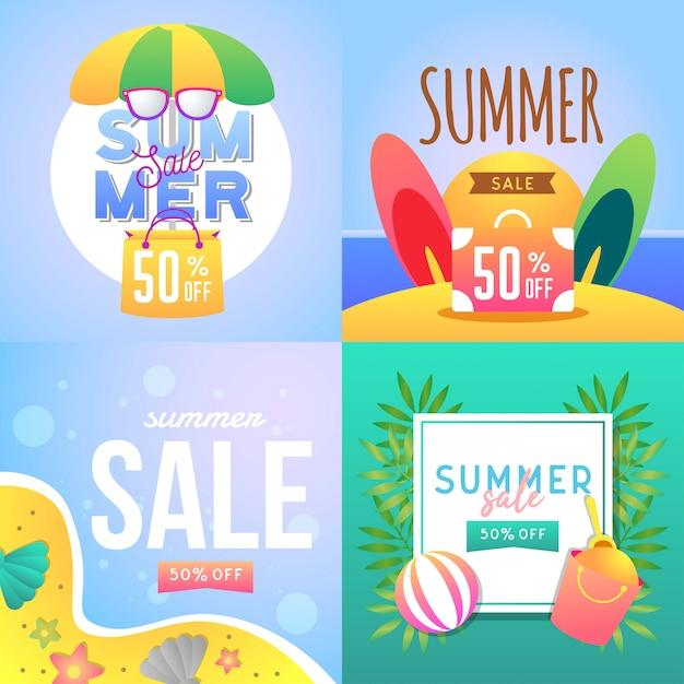 Sommerschlussverkauf banner illustration Premium Vektoren