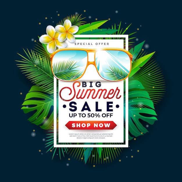 Sommerschlussverkauf banner mit sonnenbrille und exotischen palmblättern Premium Vektoren