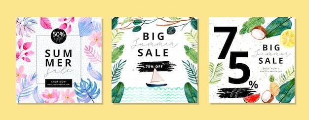 Sommerschlussverkauf banner mit tropischen pflanzen aquarell hintergrund Premium Vektoren
