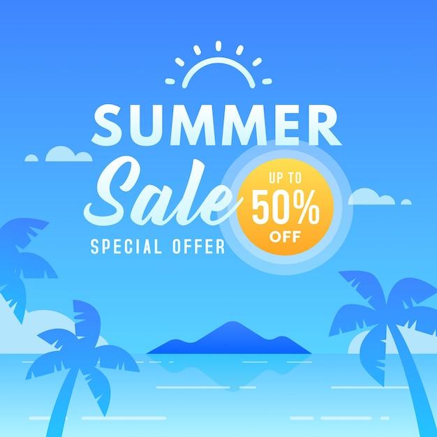 Sommerschlussverkauf banner vorlage bis zu 50% rabatt. sonderangebot Premium Vektoren