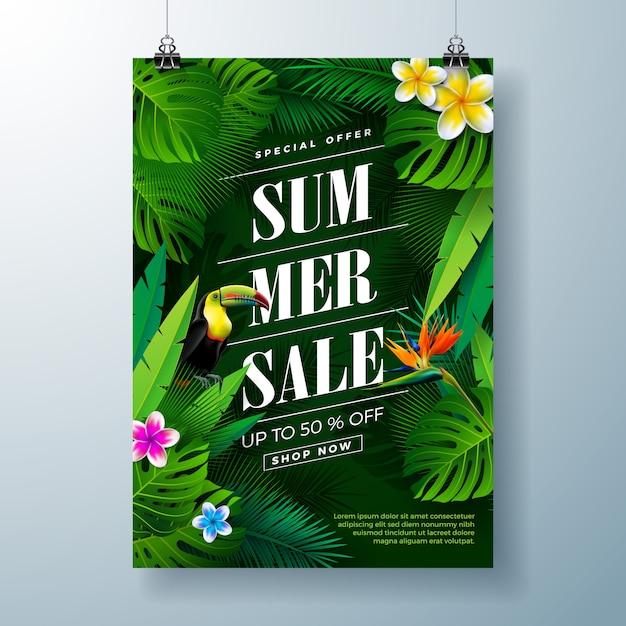 Sommerschlussverkauf banner vorlage mit blumen, tukan vogel und exotischen blättern Premium Vektoren