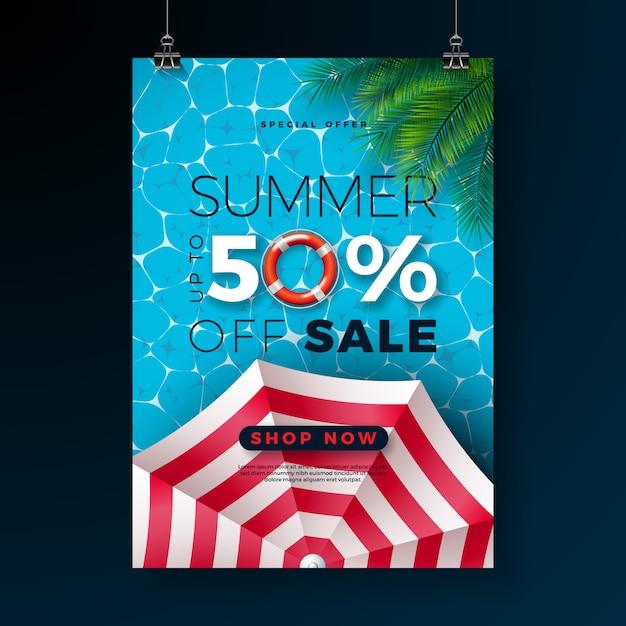 Sommerschlussverkauf bannert schablone mit hin- und herbewegung und tropischen palmblättern Premium Vektoren