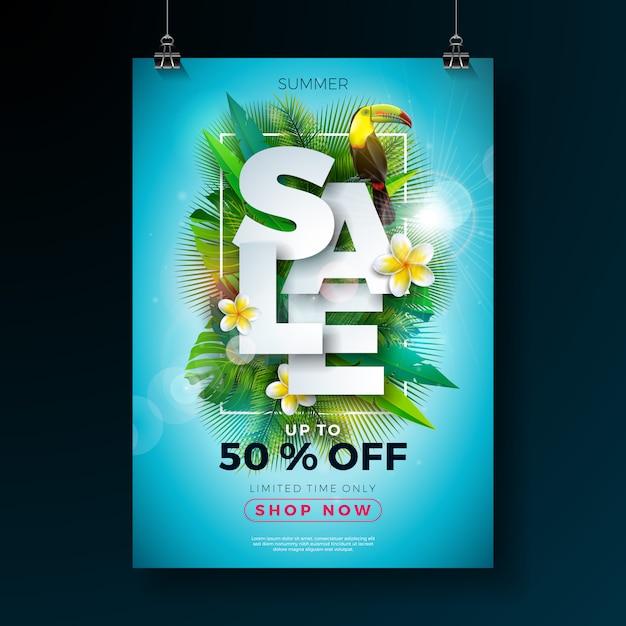 Sommerschlussverkauf bannertemplate mit blumen und exotischen blättern Premium Vektoren
