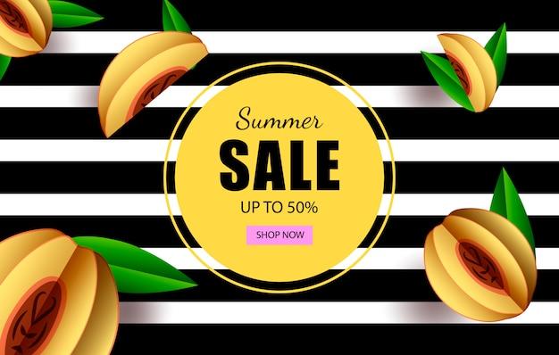 Sommerschlussverkauf bis zu 50% horizontale banner-vorlage mit button-shop jetzt und tropischen früchten. Premium Vektoren