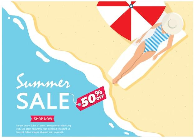 Sommerschlussverkauf. bis zu 50% rabatt auf big sale sidebar banner Premium Vektoren